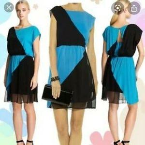 Alice + Olivia Blue/black Color Block Mesh draped